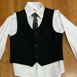 ベスト 韓国 120cm 黒 ブラック フォーマル(ドレス/フォーマル)