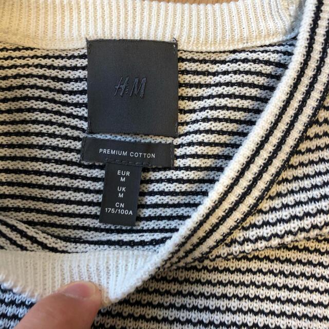 H&M(エイチアンドエム)の【価格相談可能‼︎】春ニット ボーダー メンズのトップス(Tシャツ/カットソー(七分/長袖))の商品写真