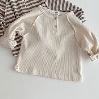 80 ボタンカットソー 新品 韓国子供服 韓国ベビー服(シャツ/カットソー)