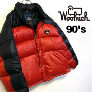 ウールリッチ(WOOLRICH)の美品90's Woolrich 肉厚ダウンジャケット メンズL レッド×ブラック(ダウンジャケット)