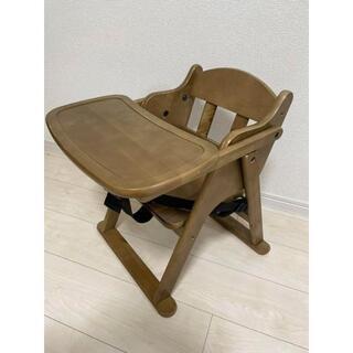 ベビーチェア ロータイプ 折り畳み式 テーブル付き 木製 ナチュラル ベルト付き(その他)