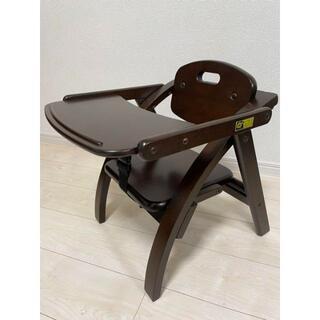 ヤマトヤ(大和屋)のベビーチェア ロータイプ 折り畳み式 テーブル付き 木製 茶色 ベルト付き(その他)