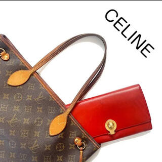 セリーヌ(celine)のCELINE セリーヌ スターボール レザー 長財布 がま口 赤 レッド 本革(財布)