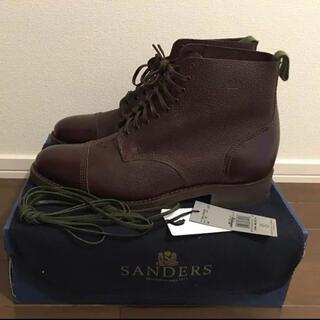 サンダース(SANDERS)のSANDERS サンダース ミリタリー ブーツ 8 1/2 英国製 茶 新品(ブーツ)