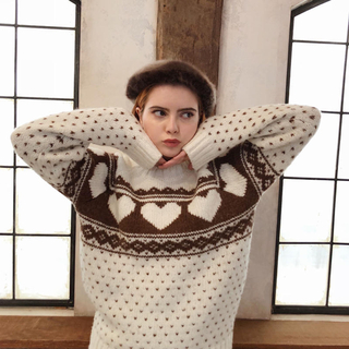 one after another NICE CLAUP - Nordic heart wool knit ivory エピヌ epine