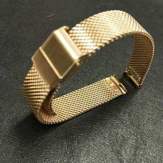 時計バンド ステンレス メッシュ 14mm 腕時計 バネ棒 ゴールド 14mm(金属ベルト)