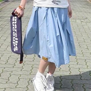 メルシーボークー(mercibeaucoup)のメルシーボークー meribeaucoup  うすダン スカート ライトブルー(ひざ丈スカート)