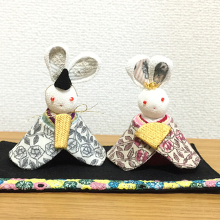 ミナペルホネン(mina perhonen)の雛人形 ミナペルホネン ハンドメイド スリーピングローズ  うさぎ お雛様(人形)