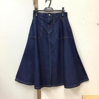 Aラインデニムロングスカート ネイビー(ロングスカート)