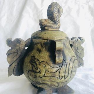 「中国骨董品」茶色玉石 縁起物 狛犬飾り香炉型置物(彫刻/オブジェ)