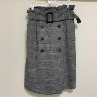 シマムラ(しまむら)のタイトスカート グレンチェック 前ボタン トレンチスカート (ひざ丈スカート)