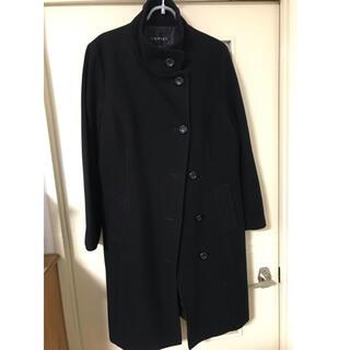 インディヴィ(INDIVI)の黒 コート 大きいサイズ インディヴィ ウール 44サイズ(チェスターコート)