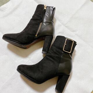 インディヴィ(INDIVI)のINDIVI ショートブーツ アンクルブーツ 黒 ブラック スエード(ブーツ)