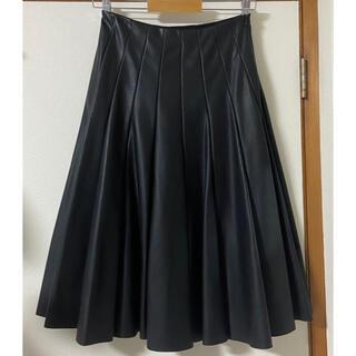ザラ(ZARA)の新品未使用 訳あり ザラZARA フェイク レザースカート ミディ フレア XS(ひざ丈スカート)