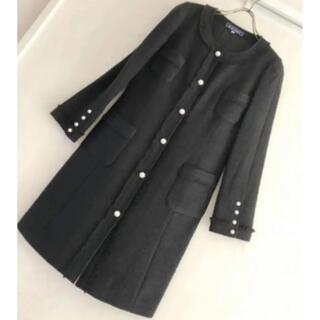 M'S GRACY - エムズグレイシー 未使用 パールボタンのツイードロングジャケットコート
