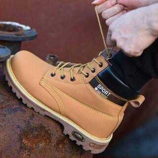 【27.5cm(EU45)】安全靴 イエローブーツ ワークブーツ メンズ ブーツ(ブーツ)