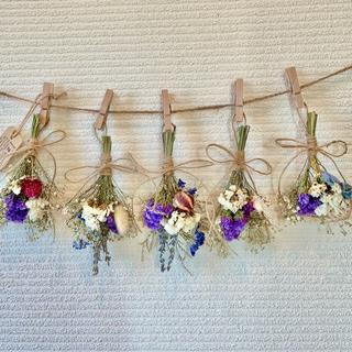 お花たっぷりドライフラワー スワッグ ガーランド❁102ラベンダー紫ブルー花束(ドライフラワー)