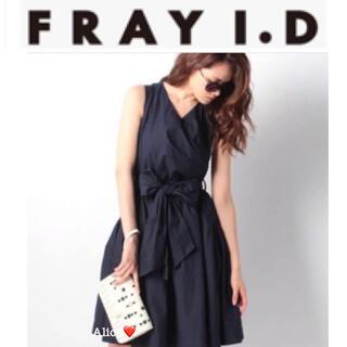 FRAY I.D - 除菌クリーニング済・着痩効果♡フレイアイディー カシュクール リボン ワンピース