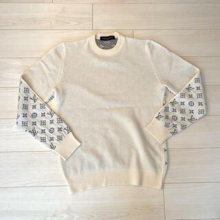 LOUIS VUITTON - ヴィトン ニット セーター ロゴ カシミヤニット ホワイト グレー