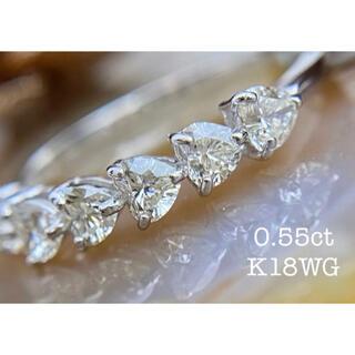 ぷっくりキュートなハートシェイプダイヤモンドエタニティリングK18WG(リング(指輪))