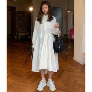 dholic - ボリュームシャツワンピース 袖口リボン ホワイト 韓国ファッション