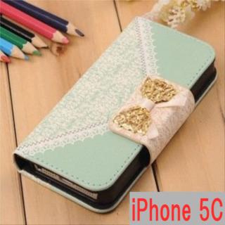 iPhone5C ケース 手帳型 可愛い リボンモチーフ スマホケース(iPhoneケース)
