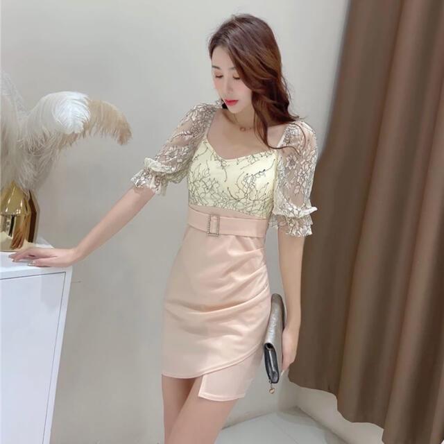 【最終値下げ】韓国 シースルー花柄ミニドレス レディースのフォーマル/ドレス(ミニドレス)の商品写真