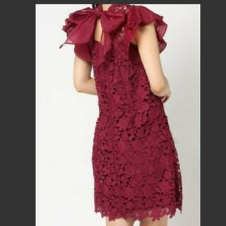 リリーブラウン(Lily Brown)のLily Brown刺繍花柄フリルワンピース赤★スナイデル、deicy、ジル(ひざ丈ワンピース)