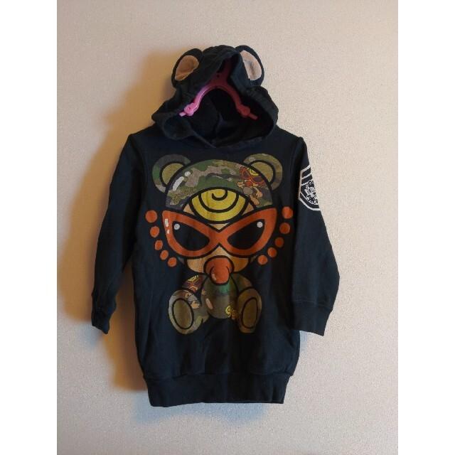 HYSTERIC MINI(ヒステリックミニ)のクマ耳パーカー キッズ/ベビー/マタニティのキッズ服男の子用(90cm~)(Tシャツ/カットソー)の商品写真