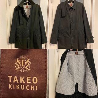 タケオキクチ(TAKEO KIKUCHI)のタケオキクチ メンズ コート 黒 L ライナー付き ステンカラーコート(ステンカラーコート)