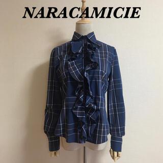 NARACAMICIE - NARACAMICIE 襟付きフリルストレッチブラウス