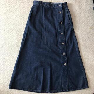 ジーユー(GU)のGU デニムサイドボタンロングスカート M(ロングスカート)