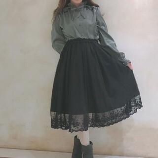 フィント(F i.n.t)の裾刺繍チュールスカート black Fi.n.t(ひざ丈スカート)