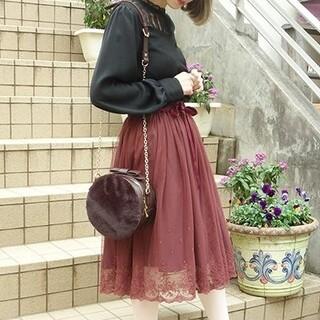 フィント(F i.n.t)のFi.n.t 裾刺繍チュールスカート(ひざ丈スカート)