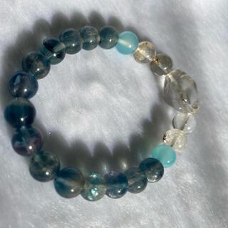 天然石ブレスレット 水晶、アクアマリン、フローライト