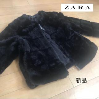 ZARA - 【新品】ZARA ザラ  フェイクファーコート ブラック L TRF