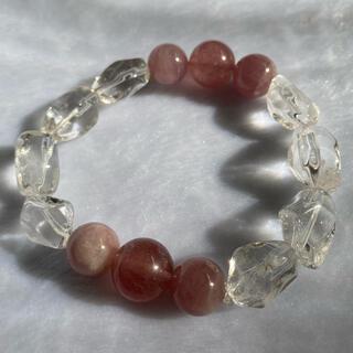 天然石ブレスレット 水晶、ストロベリークォーツ、ディープローズクォーツ