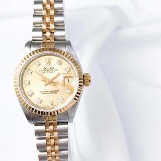 ROLEX - 【仕上済】ロレックス 10P ダイヤ シャンパン コンビ レディース 腕時計