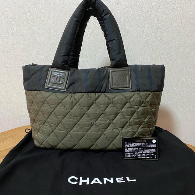 CHANEL(シャネル)の超レア‼︎ 美品 シャネル コココクーン カーキ✖️チェック リバーシブル レディースのバッグ(ハンドバッグ)の商品写真