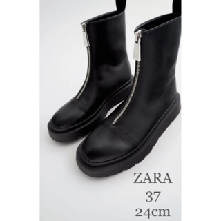 ZARA - 【新品・未使用】ZARA ジッパー フラット アンクル ブーツ 24cm