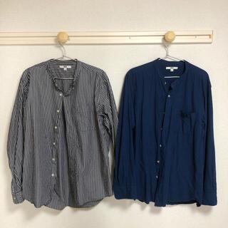 UNIQLO - ユニクロ UNIQLO ノーカラーシャツ 二枚セット 柄シャツ