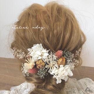 髪飾り【K1】ヘッドパーツ ドライフラワー 結婚式 成人式 卒業式 和装 花