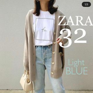 ZARA - ZARA ハイライズストレートレッグデニムパンツ ライトブルー XS