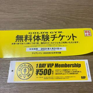 ゴールドジムの一日無料体験チケット+1DAYチケット(フィットネスクラブ)