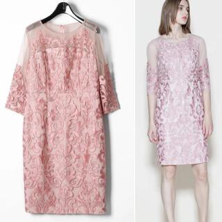 GRACE CONTINENTAL - 新品 グレースコンチネンタル ♥ 刺繍タイトワンピース チュール ピンク系 34
