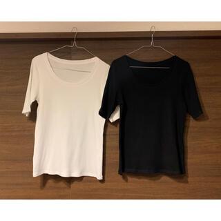UNIQLO - ユニクロ Tシャツ カットソー リブUネックT(5分袖) ホワイトブラックセット