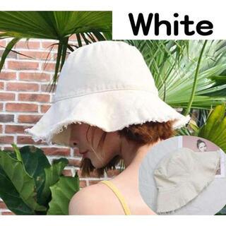 フリンジハット 白 ホワイト 韓国 切りっぱなし(ハット)