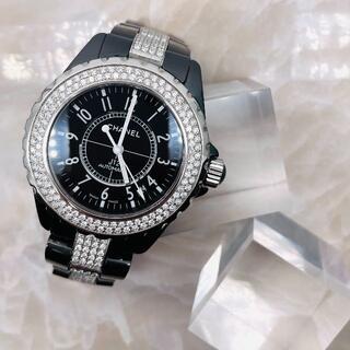 シャネル(CHANEL)の★CHANEL★ シャネル J12 黒セラミック フルダイヤ 腕時計(腕時計(アナログ))