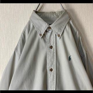 Ralph Lauren - ラルフローレン ボタンダウンシャツ 長袖 ベージュ 緑ポニー 茶ボタンM 90s
