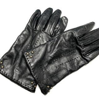 クロエ(Chloe)のクロエ 手袋 レディース - 黒×ゴールド(手袋)